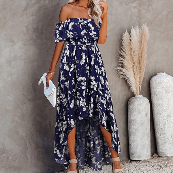 Kvinnors sexiga en axel avslappnad blommig klänning sidoslitsar Royal blue L