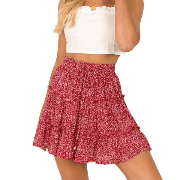 Sommarkvinnor Hög midja Ruffle Floral Beach A-line kjol red dot XL