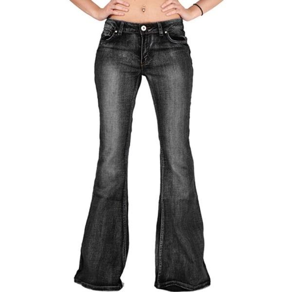 Höst Vinter Kvinnlig Slim Flare Denim Jeans darkblue XS