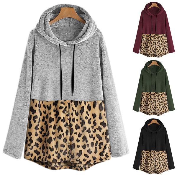 Höst vinter leopard plysch mjuk fleece huva huvtröjor varm gray 3XL