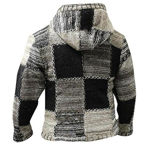Herr Hippie Hoodie Fleece Zip Hooded Cardigan Jacket Top Patchwork L