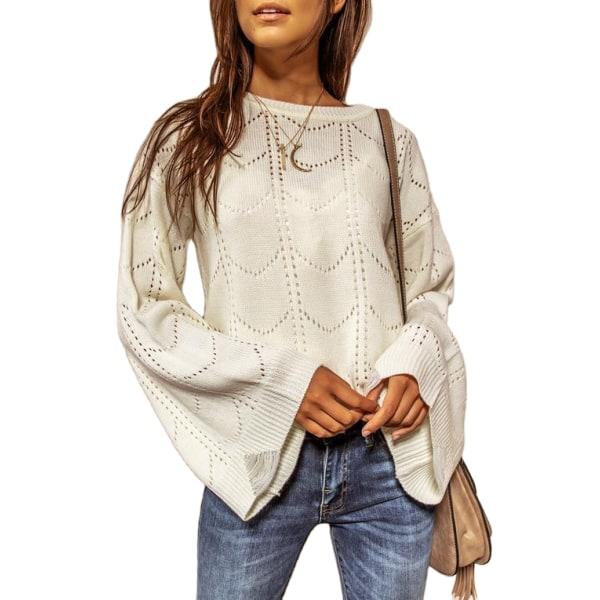 Kvinnors Plain Casual Stickad tröja damtröja höst White L