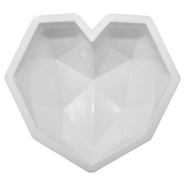 Hjärtformad diamant silikonform _ mousse kakformformbricka white 22cm * 20cm * 5.5cm