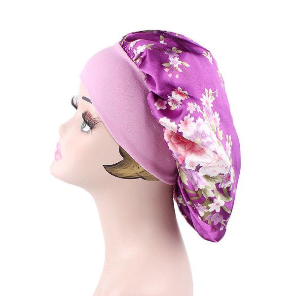 Ladies Floral Nightcap _ Cap _ Wrapped Hairstyle Household Hat purple