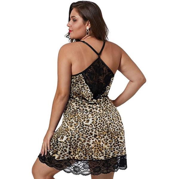 Sexig rygglös underkläder Pyjamas med spetsat satin i siden Leopard XL