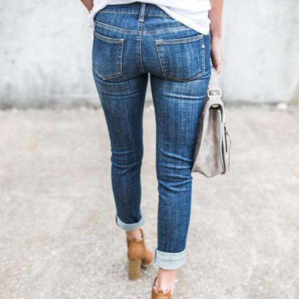 Bekymrad flickvän raka lösa jeans, manschetterade jeans ljusblå XL