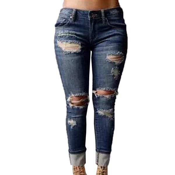 Bekymrad flickvän raka lösa jeans, manschetterade jeans mörkblå XL
