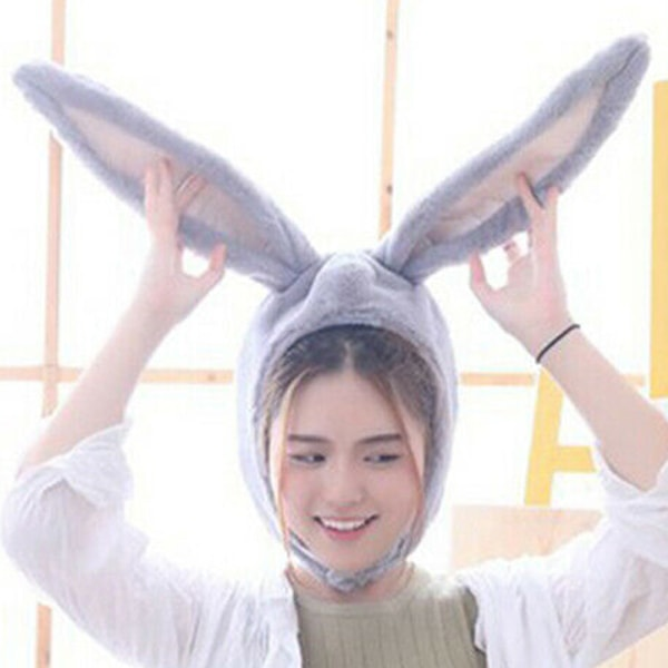 Bunny Ear Hat Påskhuvudbonader Ullklädsel för djurhuvudbonader gray