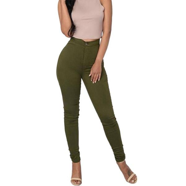 Byxor med hög midja för kvinnor, casual sportbyxor, knappbyxor grön 2XL