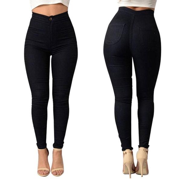 Byxor med hög midja för kvinnor, casual sportbyxor, knappbyxor svart M