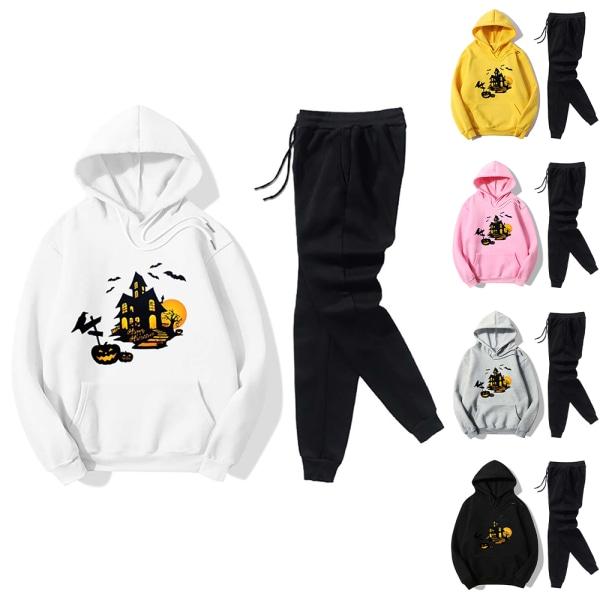 Halloween Castle Print Casual Sports Sweatshirt Set för kvinnor Yellow XXL