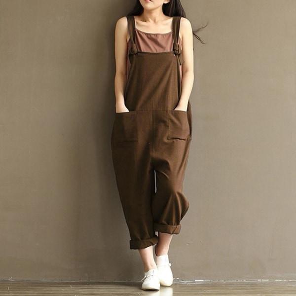 Mode Kvinnors enfärgade overaller Bystbomull coffee M