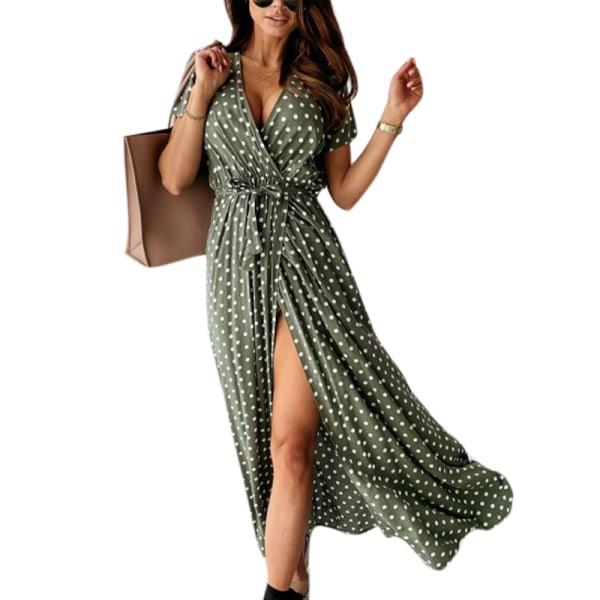 Kvinnor Wrap V Neck Polka Dot Long Dress Summer Beach Sundress Green S