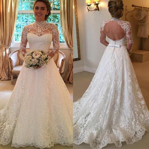 Sweet Girl Charming Lace Wedding Backless white L