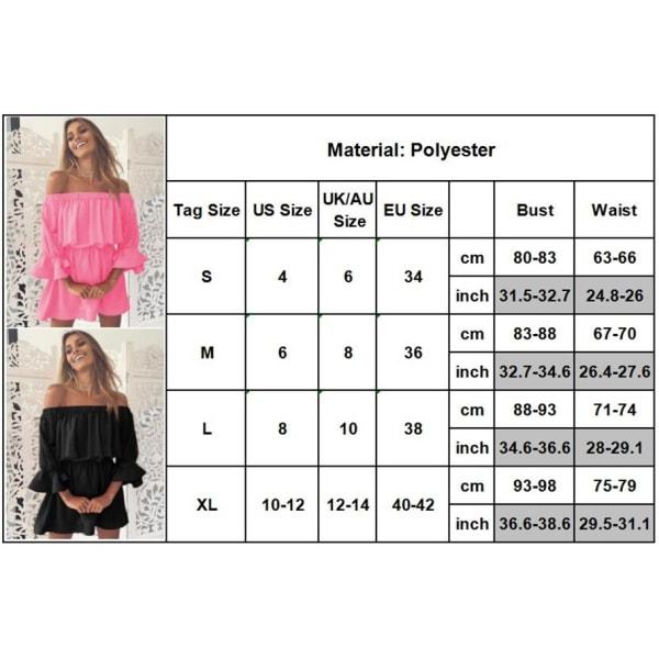 Korsettklänning för kvinnor med en axel, flytande klänning med utsvängda ärmar pink L