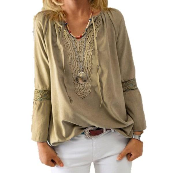 Kvinnor Långärmad V-ringad blus Snörning T-shirt Casual Loose Khaki L