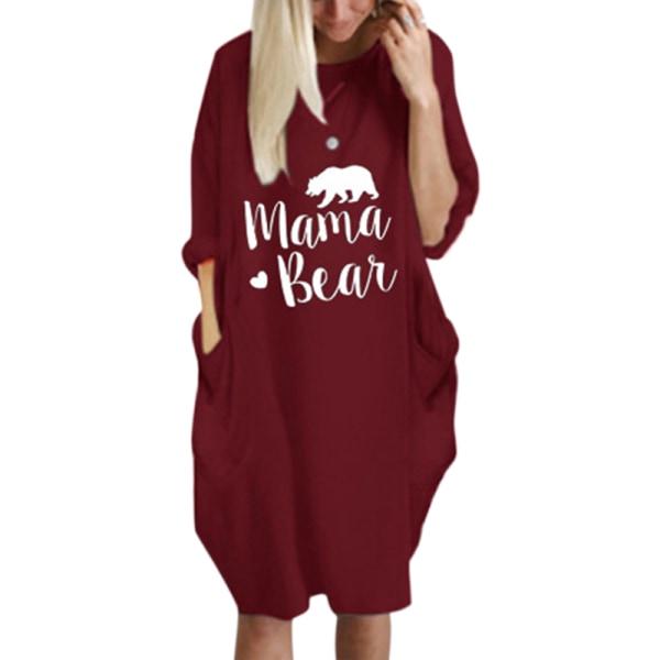 Kvinnor rund hals Hoody Pockage klänning Wine Red S