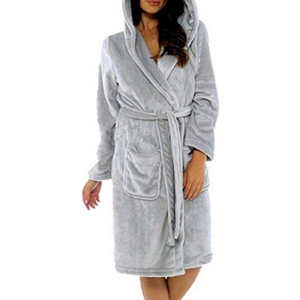 Badrock för fleece för kvinnor _ mjuk huva _ varm mantel Grå L