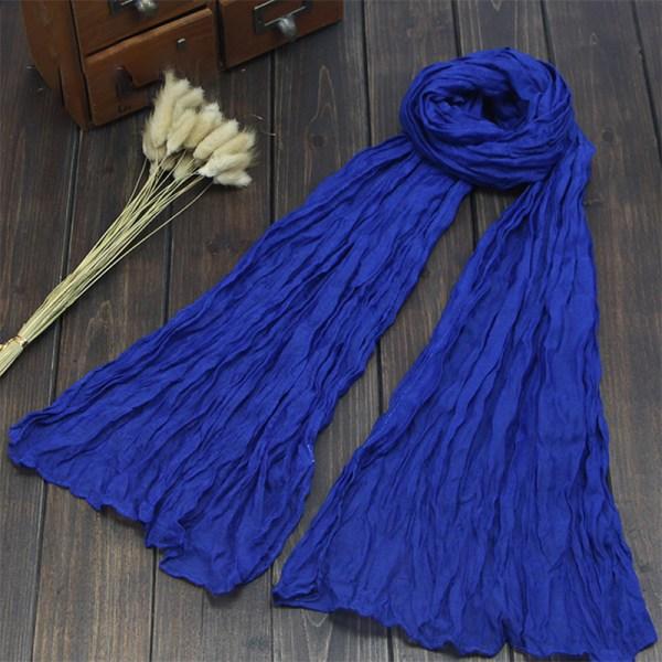 Kvinnors bomullslinne Plain Wideshawl Headwrap Scarf Royal blue