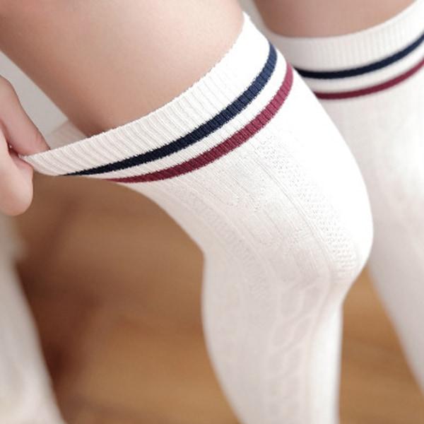 Kvinnor Sexiga randiga över knäet Lår Höga strumpor Långa strumpor pics 2-White