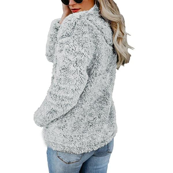 Dam avslappnad enfärgad hög krage kappa, blixtlås grå XL