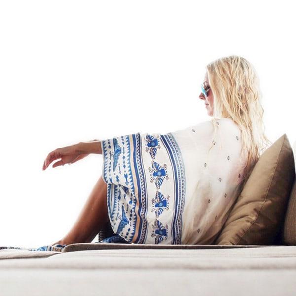 Dam Chiffong- / strandtopp Kimono Cardigan Long Bikini Cover Babao Blue En storlek