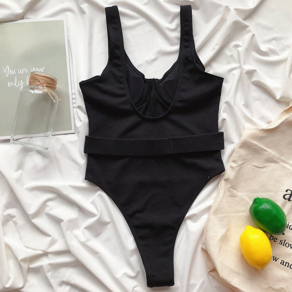 Dam djup V-ringad helfärgad baddräkt _ strandbadkläder svart L