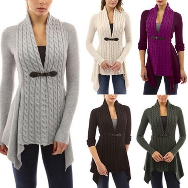 Dam höst / vinter Twist Knit Front Cardigan tröja jacka svart XL