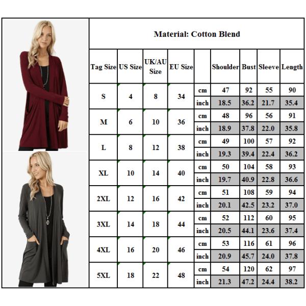 Damer avslappnad långärmad mid-längd lättvikts kofta jacka tröja marinblå M