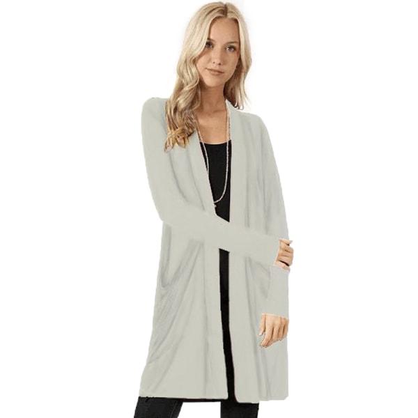 Damer avslappnad långärmad mid-längd lättvikts kofta jacka tröja vit 3XL