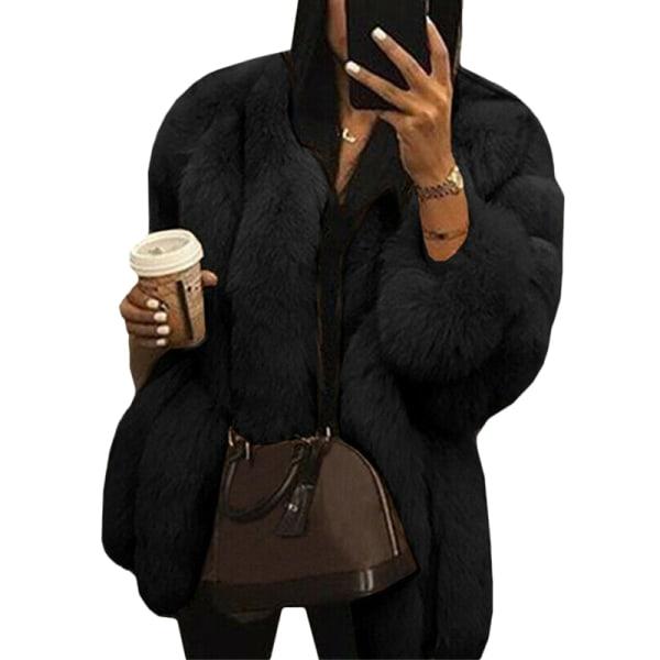 Damer rund hals plyschjacka casual faux ull kappa varm jacka svart L