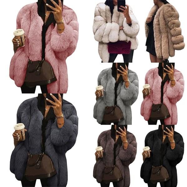 Damer rund hals plyschjacka casual faux ull kappa varm jacka rosa L
