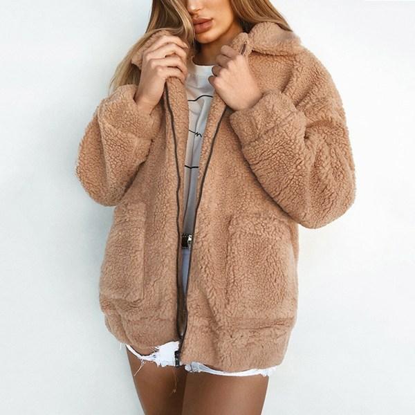 Damjacka avslappnad kavaj med blixtlås varm vinterstor jacka kamel M