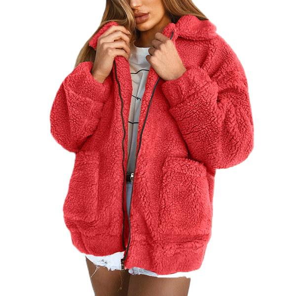 Damjacka avslappnad kavaj med blixtlås varm vinterstor jacka röd XL