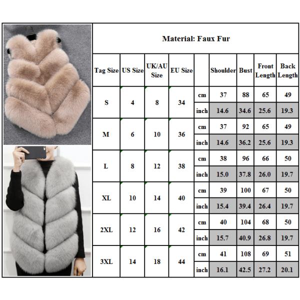 Dammode höst och vinter varm kort fuskpälsvästjacka elfenben 2XL