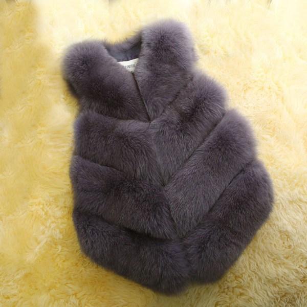 Dammode höst och vinter varm kort fuskpälsvästjacka mörkgrå XL