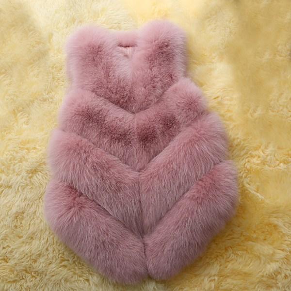 Dammode höst och vinter varm kort fuskpälsvästjacka rosa S