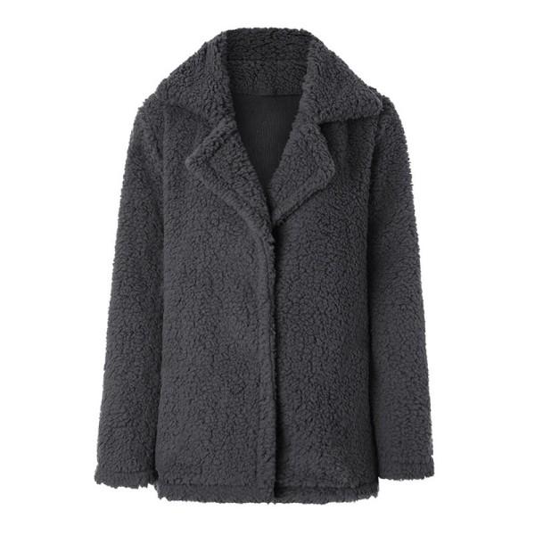 Dammode Långärmad kavaj Faux fårskinn pälsjacka varm vinter mörkgrå M