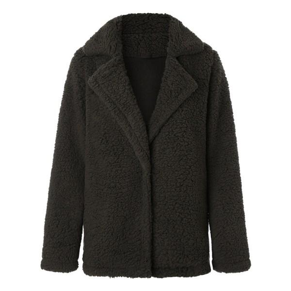 Dammode Långärmad kavaj Faux fårskinn pälsjacka varm vinter mörkgrön M