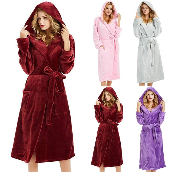 Woman's hoodie with bathrobe, solid color comfortable nightgown Wine red L