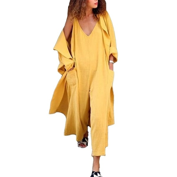 Djup v-ringad dam bomull sexig jumpsuit yellow M