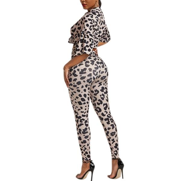 Kvinnors leopardmönster Fritidsdräkt Tvådelade stretchbyxor i stretch Leopard M
