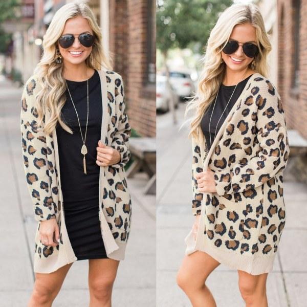 Kvinnor Sexig Leopard Cardigan Långärmad Bekväm L