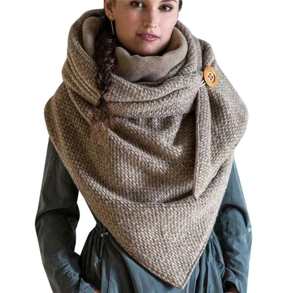 Dam varm lång halsduk, vinter halsduk enfärgad halsduk Kaki