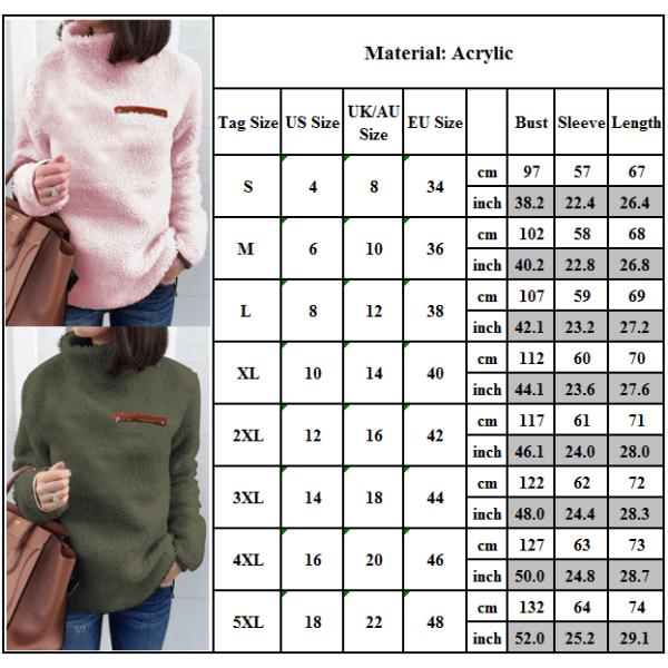Tröja med turtleneck -dragkedja för kvinnor i topptröja i europeisk stil armygreen S