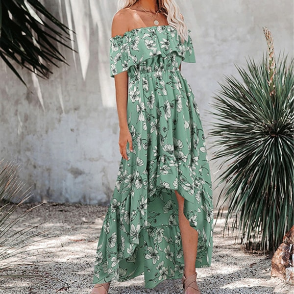 Kvinnors sexiga en axel avslappnad blommig klänning sidoslitsar green S