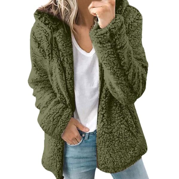 Enfärgad jacka med dragkedja i päls i enfärgad dam grön L