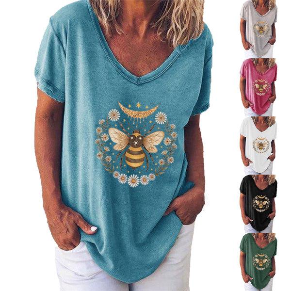 Europeiska och amerikanska bee daisy kortärmade T-shirt kvinnor
