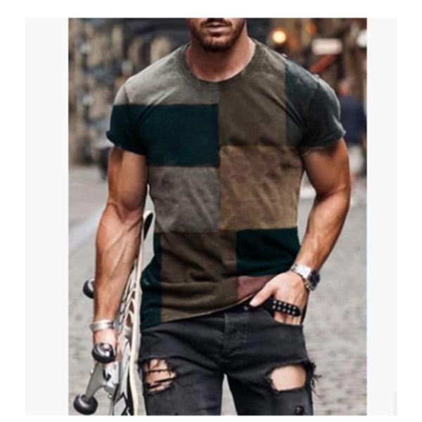Europeisk och amerikansk avslappnad färgmatchad smal T-shirt 3XL