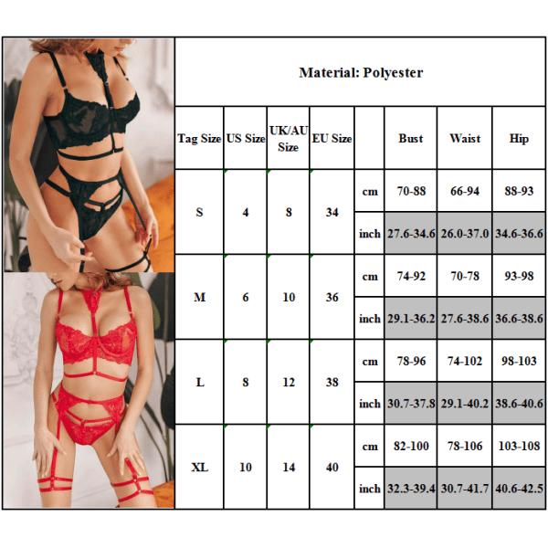 Kvinnors sexiga underkläder Babydoll Thong Bh Underkläder Pyjamas Set red M